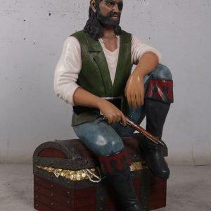 Pirate Assis Sur Son Coffre Au Trésor 1