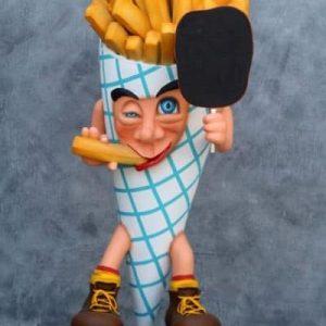 Statue Stop-trottoir PersonnageCornet de fritesde grande taille tenant une petite ardoise