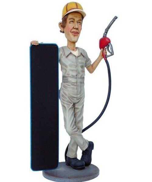 Gasoline Man Ardoise Pompiste Station Service Garage St 1848 Statue Grandeur Nature En Resine Et Fibre De Verre