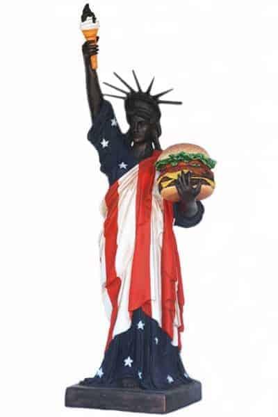 Statue De La Liberte Avec Hamburger Et Cornet De Glace Taille 2m43 Et 1m67