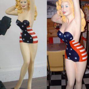 Statue Pin Up Usa Fifties Drapeau Usa