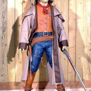 Cowboy Avec Manteau St 1721 Theme Western Statue Grandeur Nature En Resine Et Fibre De Verre