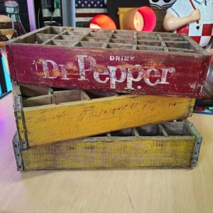 Lot De 3 Caisses De Transport Vintage En Bois Dr Pepper Coca Cola 37