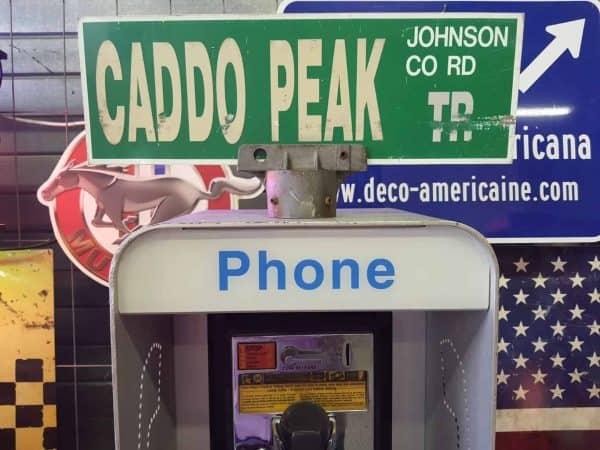 Panneau De Collection Vintage De Rue Americaine Caddo Peak Tr Johnson Co Rd 46x15.5