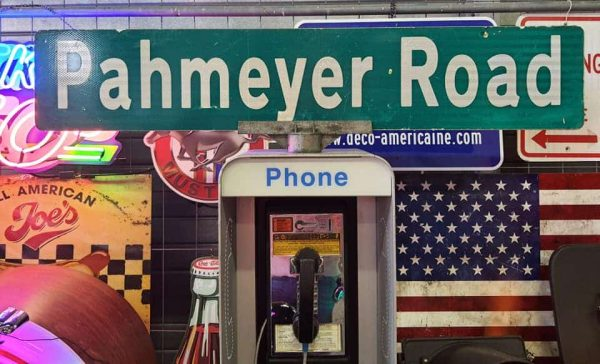 Panneau De Collection Vintage De Rue Americaine Pahmeyer Road 120x23 1