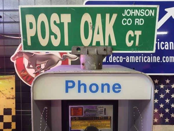 Panneau De Collection Vintage De Rue Americaine Post Oak Ct Johnson Co Rd 46x15.5