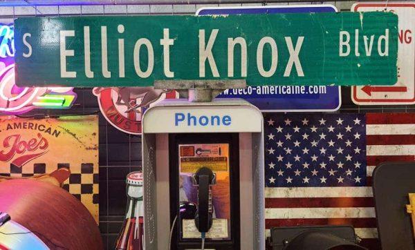 Panneau De Collection Vintage De Rue Americaine S Elliot Knox Blvd 120x23