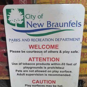Panneau De Rue Et Parc De Ville Americaine New Braunfels Texas Welcome 61x46cm