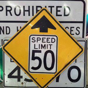panneau de signalisation routiere americain avertissement speed limit 50 mph 91x91cm
