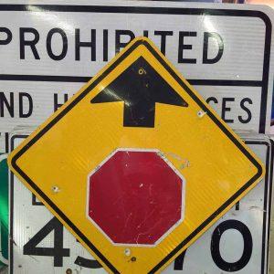 panneau de signalisation routiere americain avertissement stop 91x91cm