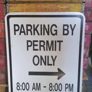 Panneau Routier Americain Parking By Permit Only 46x61cm
