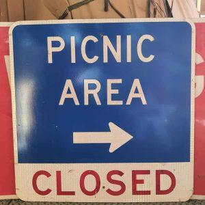 Panneau Routier Americain Picnic Area Closed 91x91cm