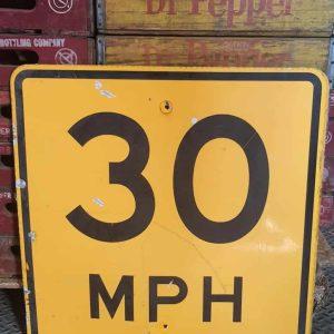 Panneau Routier Americain Speed Limit 30 Mph Jaune 61x61cm