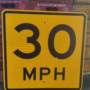 Panneau Routier Americain Speed Limit 30 Mph Jaune 61x61cm 1
