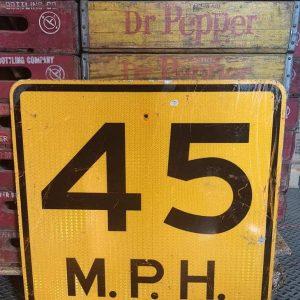 Panneau Routier Americain Speed Limit 45 Mph Jaune 61x61cm