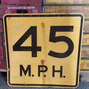 Panneau Routier Americain Speed Limit 45 Mph Jaune 61x61cm 1