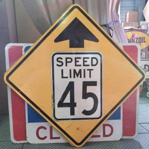 Panneau Routier Americain Speed Limit 45 Mph Jaune Et Blanc Xxl 91x91cm