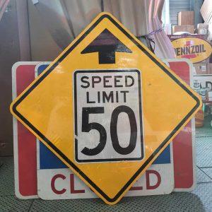 Panneau Routier Americain Speed Limit 50 Mph Jaune Et Blanc Xxl 91x91cm