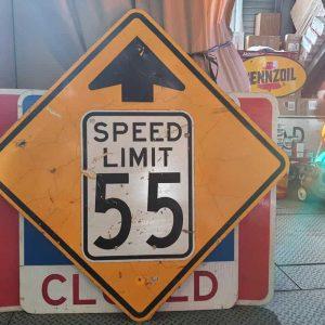 Panneau Routier Americain Speed Limit 55 Mph Jaune Et Blanc Xxl 91x91cm