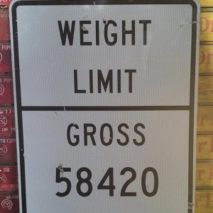 Panneau Routier Americain Weight Limit 91.5x61cm
