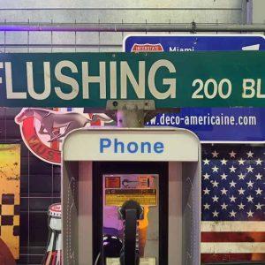 Panneaux Verts Des Rues Américaines 90.5x15.5cm Flushing 200 Blk