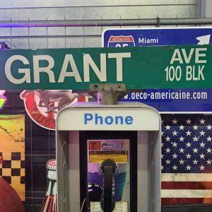 Panneaux Verts Des Rues Américaines 90.5x15.5cm Grant Ave 100 Blk 1