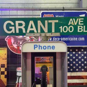 Panneaux Verts Des Rues Américaines 90.5x15.5cm N Grant Ave 100 Blk