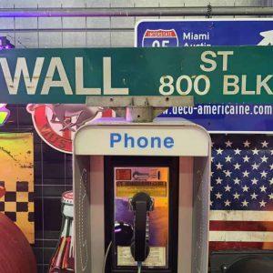 Panneaux Verts Des Rues Américaines 90.5x15.5cm Wall St 800 Blk
