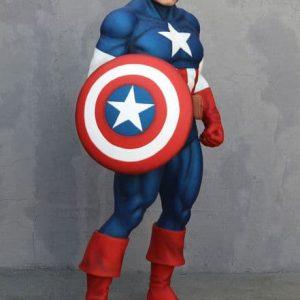 Statue de Captain America - Soldat Super héros tenant son bouclier