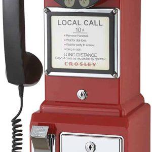 Téléphone de Cabine Payphone Américain Vintage 50's Rouge