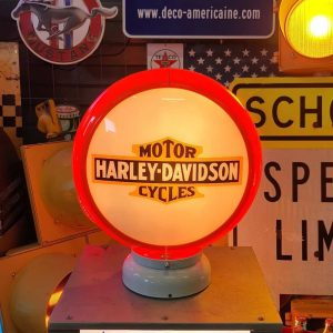 globe de pompe a essence americaine de la marque harley davidson a orange