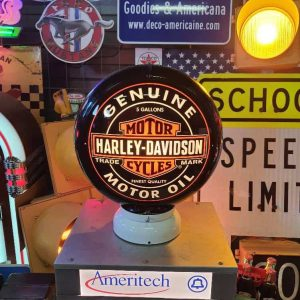 globe de pompe a essence americaine de la marque harley davidson bk