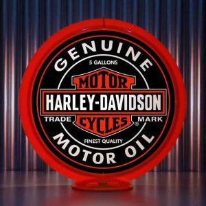 Globe De Pompe A Essence Americaine De La Marque Harley Davidson Orange