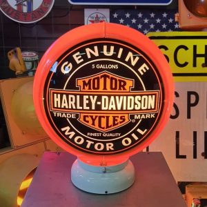 globe de pompe a essence americaine de la marque harley davidson orange 1