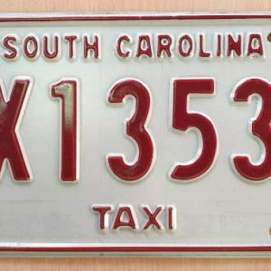 Plaque d'immatriculation américaine - CAROLINE DU SUD Taxi