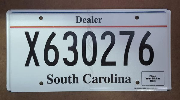 Plaque d'immatriculation américaine - CAROLINE DU SUD - Dealer Plaque X