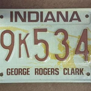 Plaque d'immatriculation américaine - INDIANA 80 Clarck