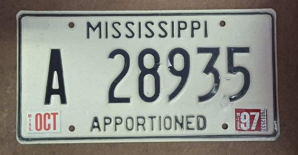 """Plaque d'immatriculation américaine - MISSISSIPPI """"97 Apportioned"""""""