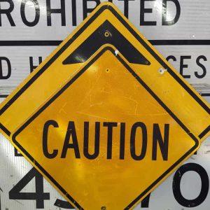 panneau de signalisation routiere americain avertissement caution 76x76cm