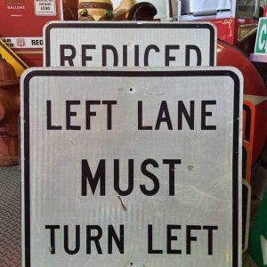 panneau de signalisation routiere americain left lane must turn left 76x76cm