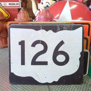 panneau de signalisation routiere americain road state 126 couleur noire 76x61cm