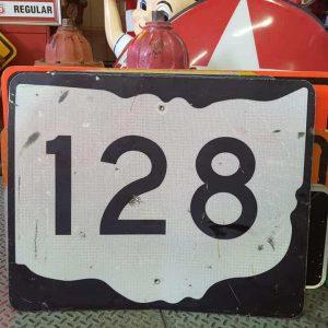 panneau de signalisation routiere americain road state 128 couleur noire 76x61cm