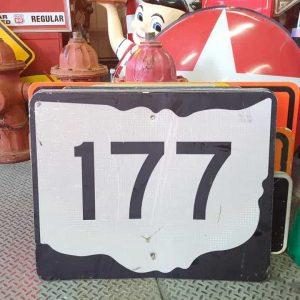 panneau de signalisation routiere americain road state 177 couleur noire 76x61cm 2