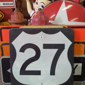 panneau de signalisation routiere americain road state 27 couleur noire 61x61cm