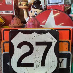 panneau de signalisation routiere americain road state 27 couleur noire 61x61cm 1