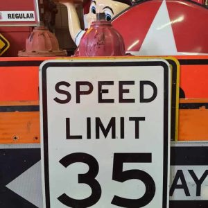 panneau routier americain de limitation de vitesse speed limit 35 46x61cm