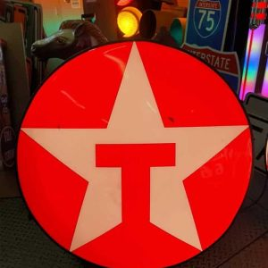 enseigne vintage de station service texaco – diamètre 85cm – eclairage à leds inclus