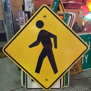 panneau de signalisation routiere americain avertissement slow pedestrian 76x76cm