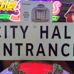 panneaux de ville americaine vintage et authentique 61x23cm city hall entrance goodies et collectibles 1