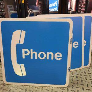 panneau phone de restaurant et de rue americaine double face goodies vintage 30x30cm 1